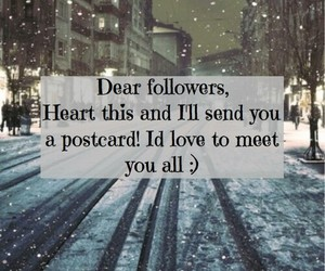 postcard, followers, and heart image
