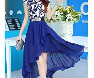 blue, dresses, and woman image