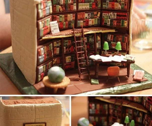books, library, and cake image