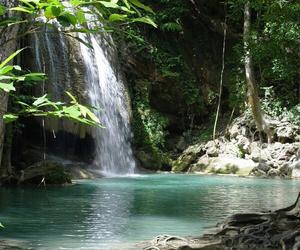 summer, waterfall, and beautiful image