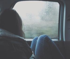 girl, rain, and car image
