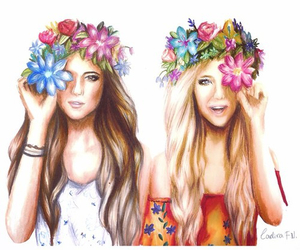flowers, best friends, and girls image