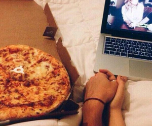 couple, pizza, and movie image