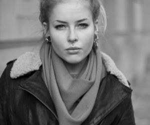 black and white, girl, and leather jacket image