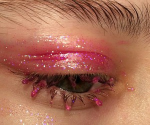 eye, glitter, and pink image
