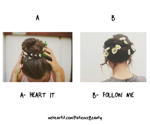 hair, flowers, and follow me image