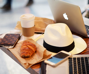 apple, coffee, and croissant image