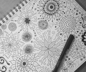 black and white, doodle, and draw image