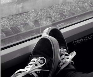 black and white, dark, and shoes image