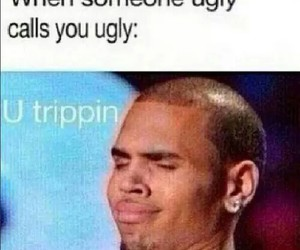 ugly, chris brown, and funny image
