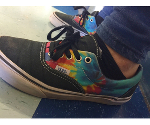 shoes, tie dye, and vans image