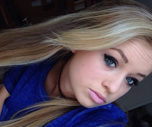 blonde, pink, and winged eyeliner image