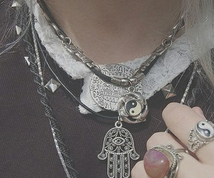 grunge, necklace, and rings image