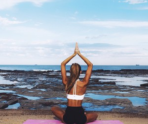 yoga, beach, and fitness image