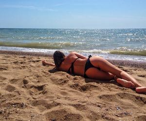 beach, blue sky, and sand image
