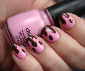 nails, chocolate, and pink image