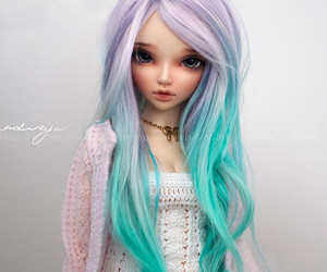 colored hair, pastel hair, and bjd doll image