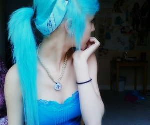 blue, blue hair, and cute girl image