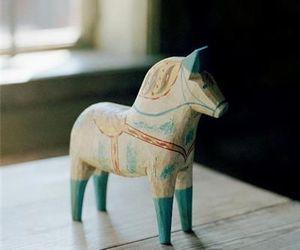 art, blue, and dala horse image