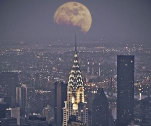 city, moon, and night image
