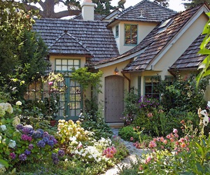 garden, cottage, and flowers image