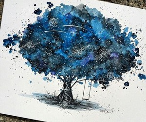 art, tree, and blue image