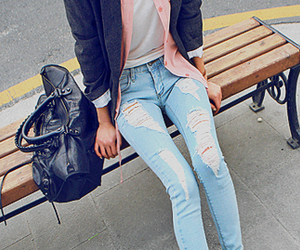 fashion, jeans, and bag image