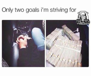money, goals, and love image