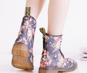 dr. martens, floral, and flowers image
