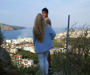 blonde girl, Greece, and love image