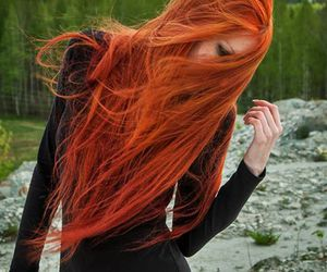 black dress, ginger, and nature image