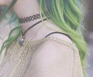 green hair, grunge fashion, and green image
