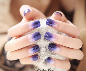 gradient nail art, wedding nail ideas, and purple wedding nail image