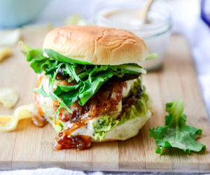 burger, hairstyle, and healthyfood image