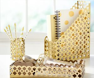 desk, gold, and study spaces image