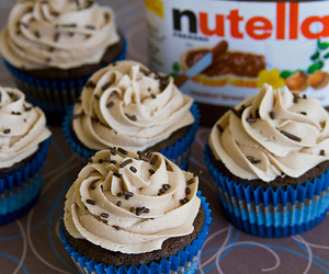 nutella, cupcake, and chocolate image
