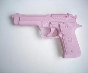 pink, gun, and grunge image