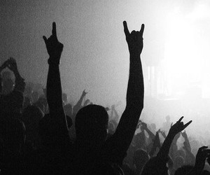 rock, concert, and black and white image