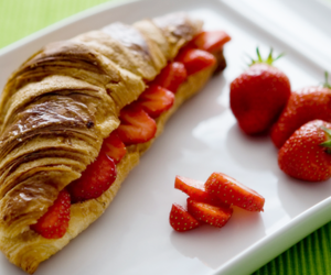 strawberry, food, and croissant image