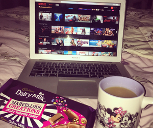 bed, chocolate, and macbook image