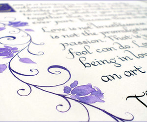 calligraphy, poem, and floral image