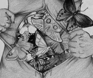 black and white, body, and butterflies image