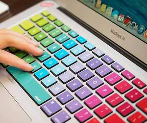 macbook, keyboard, and colors image