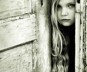 black and white, door, and girl image