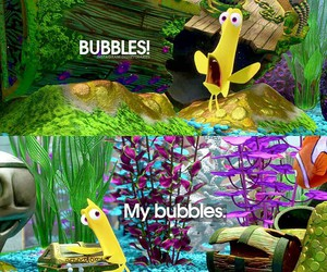 bubbles, disney, and finding nemo image
