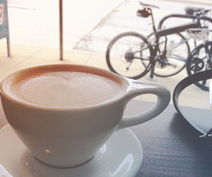 bicycle, coffee, and cafe image