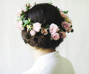 flower headband, bun, and crown image