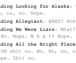 books, looking for alaska, and no! image