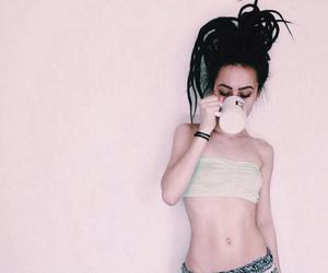 alt girl, black hair, and goth image