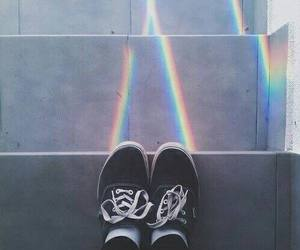 rainbow, vans, and shoes image